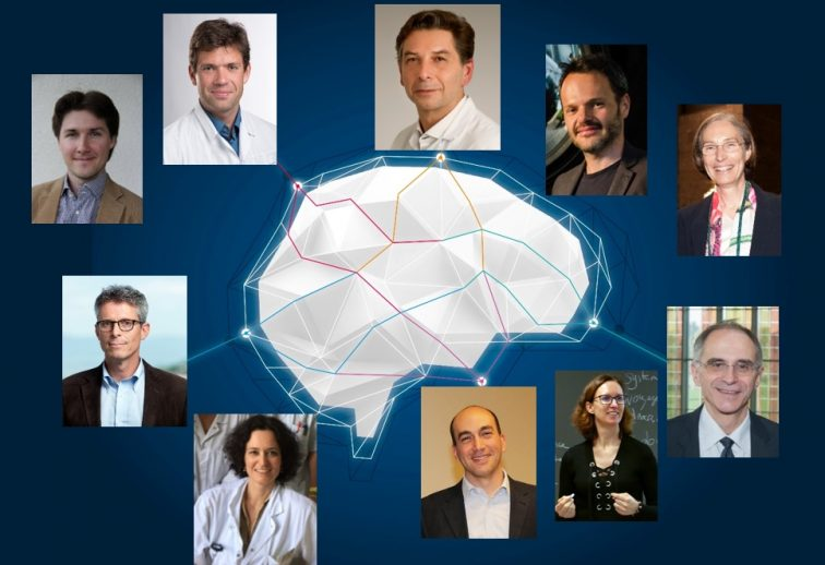(upper row, from left to right): Petr Grivaz (manager Neuroscape@NeuroTech), Arseny Sokolov (director Neuroscape@NeuroTech), Philippe Ryvlin (director NeuroTech platform and head of the Department of Clinical Neuroscience), Andrea Serino (director MySpace Lab and VR platform), Stéphanie Clarke (chair of Neurorehabilitation); (lower row, from left to right): Renaud Du Pasquier (chair of Neurology and Neuroinflammation Clinic), Marie Théaudin (attending Multiple Sclerosis Clinic), Micah Murray (director Laboratory for Investigative Neurophysiology), Andrea Brischi Guevara (chief neuropsychologist Leenaards Memory Clinic), Jean-François Démonet (director Leenaards Memory Clinic)
